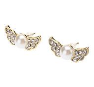 Golden Angel Wings Diamond Pearl Earring