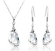 bianco orecchini di cristallo collana pisello abiti