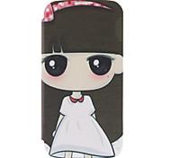 Karikatur-Mädchen-Muster-Leder-Hülle für das Samsung Galaxy i9500 S4
