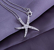 Silver Starfish Pendant with Rhinestone (Pendant Only)