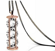 Fashion Genuine 18k Gold Plated Hourglass with Three Clear Crystal Pendant Long Sweater Chain Necklace