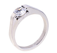 Lureme®Simple Zircon Stainless Steel Ring