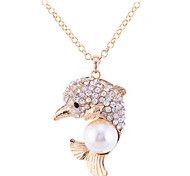 Lureme Full Crystals with Pearl Dolphin Pendant Long Necklace