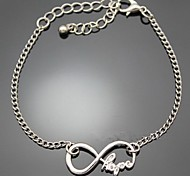 Hope Word Letters Infinite Infinity Chain Bracelet