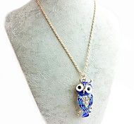 Owl necklace-Blue