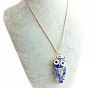 Eule Halskette-blau