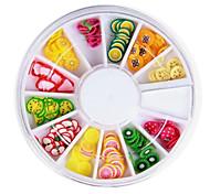 12 Colors 3D Fimo Slice Fruit Nail Art Decoration