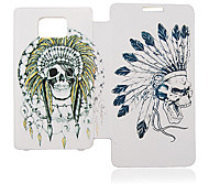 India Skull Leather Case for Samsung Galaxy S2 I9100