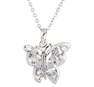 Gold plated bronze zircon Butterfly-Shaped Pendant Necklace D0387