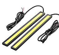 2 Pcs Set Waterproof Aluminum High Power 6W 6000K Xenon White Slim COB LED Daytime Running Light Lamp
