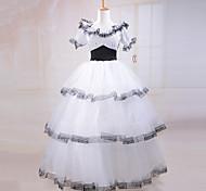 manga corta belleza sureña traje de encaje blanco vestido lolita clásica