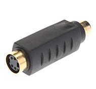 S-Video hembra a RCA hembra adaptador Oro Negro plateado
