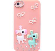Mariposa de la joyería del caballo de madera cubierta de nuevo caso para el iPhone 4/4S (colores surtidos)