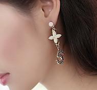 Quatre feuilles perle d'imitation Earring