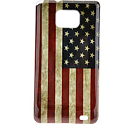 USA Flag Pattern TPU Skinning Case + Screen Protector for Samsung Galaxy S2 I9100
