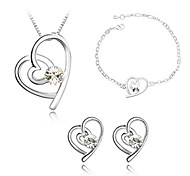 Z&X®  Ladies Crystal Jewelry Sets In Sliver Alloy Including Necklace Earrings Bracelet More Colors Available
