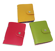 Sheepskin Grain Leather Button Card Holder(Assorted Color,for 24 Cards)