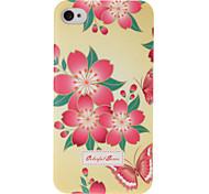 Rosa Blumen Muster Kunststoff Hard Case für iPhone 4 4S