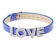 Bijoux Fashion strass Love-parole Pu cuir bracelet