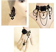 Handmade Dark Queen Black Rose Gothic Lolita Accessories Set