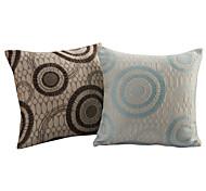 Conjunto de 2 Polyester fronha decorativa azul e Brown geométrica