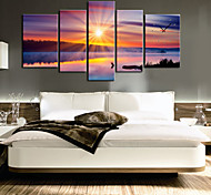 "35"" Sun Scenery Wall Clock In Canvas 5pcs"
