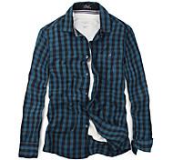 Мужская рубашка Slim Fit ошейник с длинным рукавом Повседневные Vintage хлопковые рубашки плед