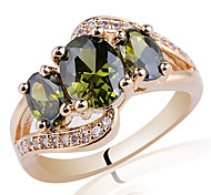 Gold Plated 925 Sterling Silver Lady Ring 4X6Mm And 6X8Mm 3-Stone Zircon