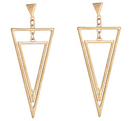 Alloy Goldene Doppel Triangle Ohrringe