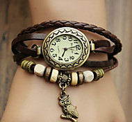 Women's Watch Bohemian Owl Pendant Leather Band Bracelet(Random Color)