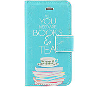 Book and Teas Pattern  PU Full Body Case with Card Slot and Stand for iPhone 4/4S (Blue)