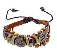 Unisex Bead Fabric Leather Bracelet