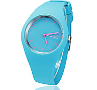 Women's Concise Style Round Dial Silicone Band Quartz Analog Wrist Watch (Assorted Colors)