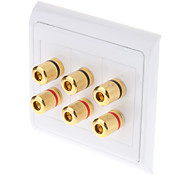 High Quality Banana Binding Post Two-Piece Inset Wall Plate for 3 Speakers Coupler Type