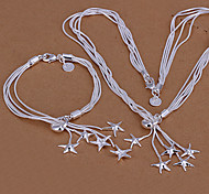 Sweet Silver Plated (Necklace & Bracelet) Jewelry Set (Silver)