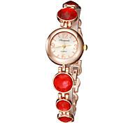 Frauen Kleine Runde Sache Kristall Legierung Band Quarz Analog Armband Uhr (verschiedene Farben)