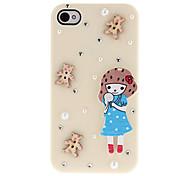 Cartoon-Stil eine hölzerne Mädchen und kleine Diamanten bedeckt Hard Case für iPhone 4/4S