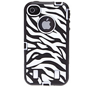 2-in-1 Design Zebra-Stripe Pattern Silicone Soft Case with Hard Inside Cover for iPhone 4/4S (Assorted Colors)