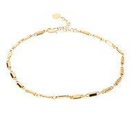 Square Beads Golden-Plated Anklet