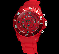 Unisex LED Digital Circle Display Silicone Band Wrist Watch (Assorted Colors)
