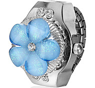 Women's Blue Flower Shaped Cover Silver Alloy Quartz Ring Watch