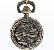 copertura libellula cava quarzo lega dell'annata orologio da tasca analogica degli uomini