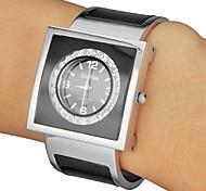 Diamante cadran noir en alliage de quartz de bande analogique bracelet des femmes