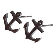 (1 Pair)Fashion (Boat Hook) Black Titanium Steel Stud Earrings