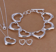 Fashion Silver Plated (Necklace & Bracelet & Earrings) Jewelry Set (Silver)