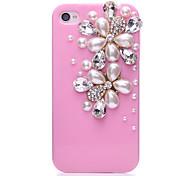 Pearl Zircon Flower Pattern Metal Jewelry Back Case for iPhone 4/4S