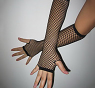 Fingerless Black Fishnet Gloves