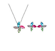 Multicolor Clover Crystal Earrings & Necklace Jewelry Set