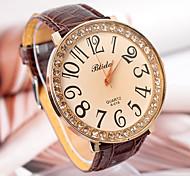 Women'S Round Leather Quartz Analog Dress Watch