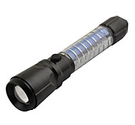 LT-0C05 3-Mode Cree XM-L T6 LED Zoom Flashlight with 16 LED Colorful Light (1000LM, 1x18650, Black)